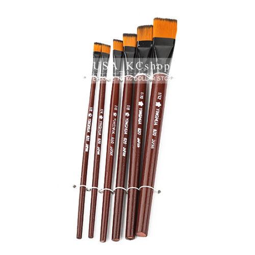 New 6 pcs/1 set Nylon Brush Brushes for Oil Watercolor Art P