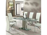 Rihanna Extending Glass Dining Table In Clear And Chrome Support
