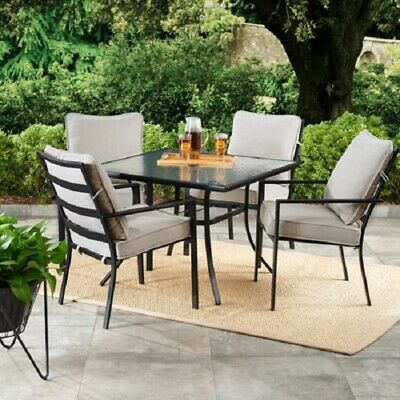 Patio Furniture Dining Set Table and Chair Sets 5 Piece 4 Chairs Gray Clearance ()