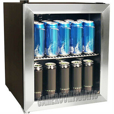 Stainless Steel Beverage Cooler Mini Fridge, Compact Glass Door Can Refrigerator