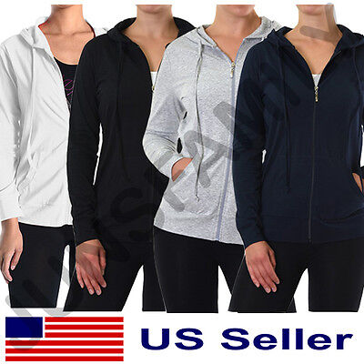 Womens PLUS SIZE Classic Active Basic Cotton Hoodie Jacket Sweatshirt Zip-Up Women Basic Hoodie Jacket