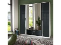 BRAND NEW !! 3 AND 4 DOOR GERMAN HIGH GLOSS WARDROBE IN BLACK WHITE COLOUR