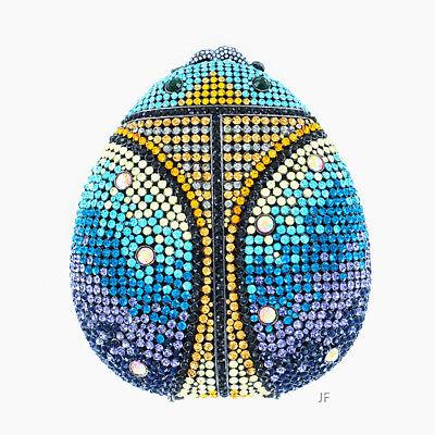 WOMEN'S Luxury Evening Bag HARD SHELL Glamorous Ladybug Crystal Clutch Bag BLUE