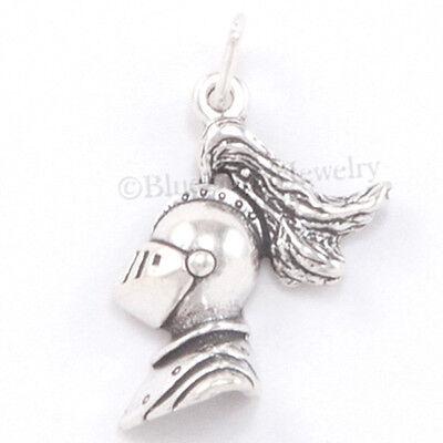 KNIGHT HEAD HELMET Armor 925 Medieval Charm Pendant .925 Sterling Silver Jewelry