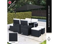 RATTAN CUBE BLACK 10 PC garden furniture set patio paving decking or summer house shed table chairs