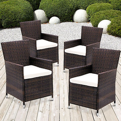 Garden Furniture - 4 X RATTAN GARDEN FURNITURE DINING CHAIRS SET OUTDOOR PATIO