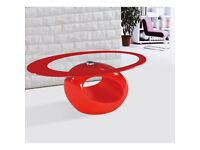 Modern Stylish Red Coffee Table with a tempered clear glass top in oval shape and high gloss base