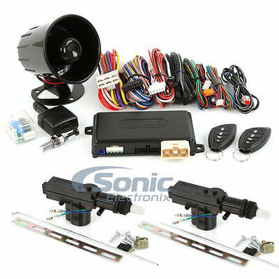 Encore E6 Remote Start Keyless Entry Car Alarm System w/ 2 Door Power Lock Kit