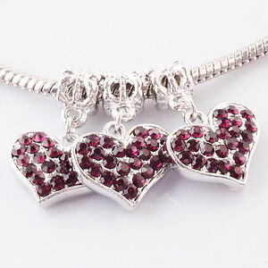 Wholesale Lots Rhinestone Crystal Heart Dangle European Charm Beads Fit Pendant