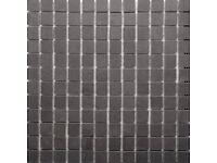 RAK Luxury Lounge Dark Grey Porcelain Mosaic Polished Tile Sheet - 300x300mm 7.5 Sheets RRP £127
