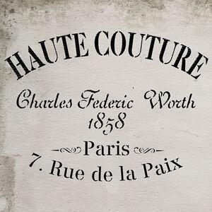 stencil shabby chic haute couture vintage french furniture fabric stencil ebay. Black Bedroom Furniture Sets. Home Design Ideas