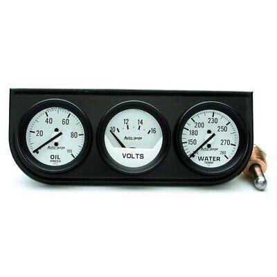 AutoMeter 2327 AutoGage Mechanical 3 Gauge Console,Oil/Water/Volt Autometer Autogage Mechanical Oil