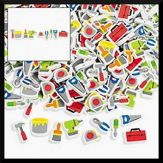 500 Foam Beads - Tools Hammer Drill Saw Toolbox Paintbrush More! Kids ABCraft