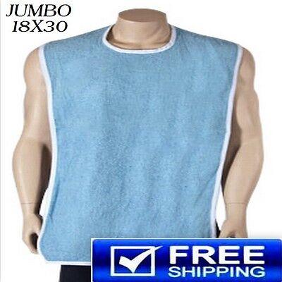 3 NEW  DISABILITY ADULT TERRY CLOTH BIB W/ EASY CLOSURES BLUE 18''X30''
