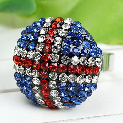 Clear Crystal Cocktail Ring - Punk Clear Crystal Shine Iceland Flag Blue/Red Flag Symbol Cocktail Stretch Ring
