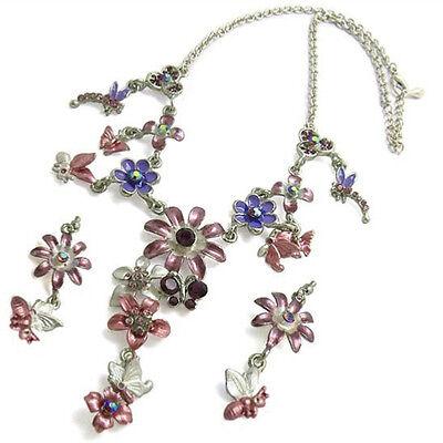 Austrian Crystal Butterfly Flower - Multi Dragonfly Butterfly Numerous Flower Austrian Crystal Necklace Earrings Set