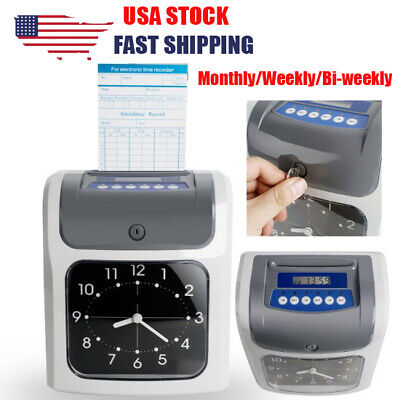 Pro Electronic Employee Analogue Recorder Time Clock W Card Monthlysemimonthly