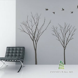 Winter-Autumn-Tree-Birds-Lounge-Bedroom-Wall-Art-Stickers-Tree-Wall-Decals-P534