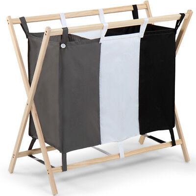 Wäschesortierer Wäschesammler Wäschewagen mit 3 Wäschebeutel Wäschekorb