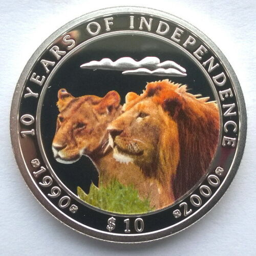 Namibia 2000 Lion Independence 10 Dollars Silver Coin,Proof