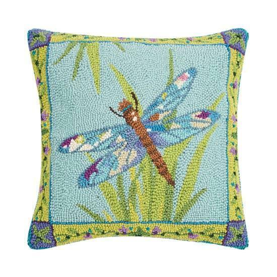 Hook Pillow Dragonfly Days Artist Designed Throw Cushion Sally Eckman Roberts