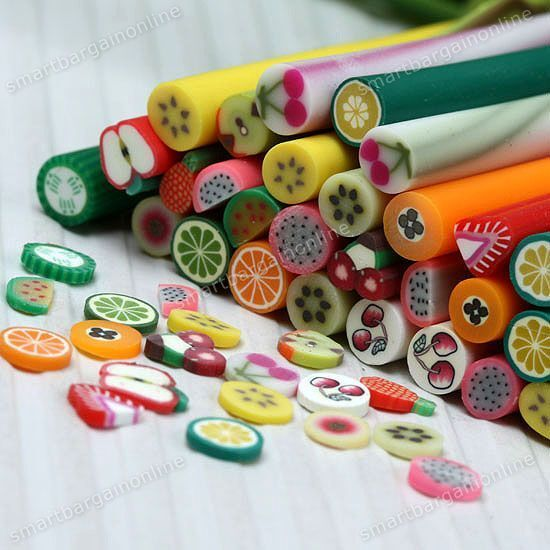 10pcs 3d fruit nail art fimo canes stick rods polymer clay new 10pcs 3d fruit nail art fimo canes stick rods polymer clay stickers decor prinsesfo Choice Image