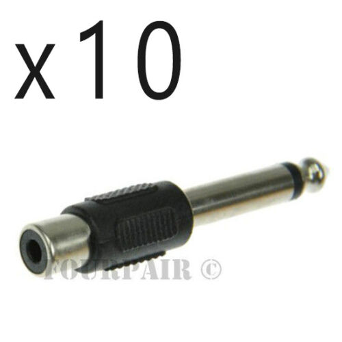 """10 Pack Lot - RCA Female to 1/4"""" 6.35mm Mono Male Plug Audio Converter Adapter"""