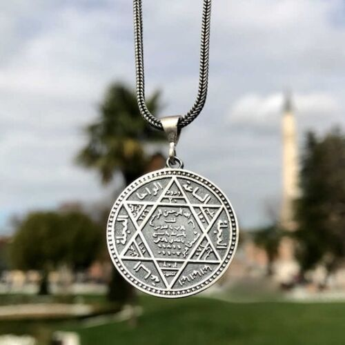 925 Sterling Silver Seal of Solomon Pendant incl. Silver Chain Turkish Handmade