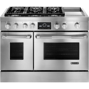"Jenn-Air JDRP548WP Pro Style 48"" Dual Fuel Gas Range With Convec"