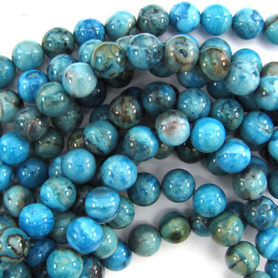 Crazy Agate Beads - Blue Crazy Lace Agate Round Beads Gemstone 15.5