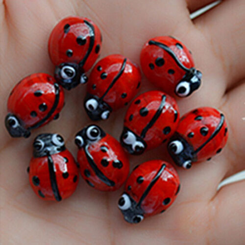 50pcs handmade Lampwork glass Beads flower 10*13mm---red ladybug