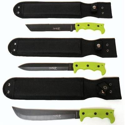 WOW SALE Lot of 3 Zombie Survival Hunting Knives   Machetes   Free Shipping Too (Zombie Sale)