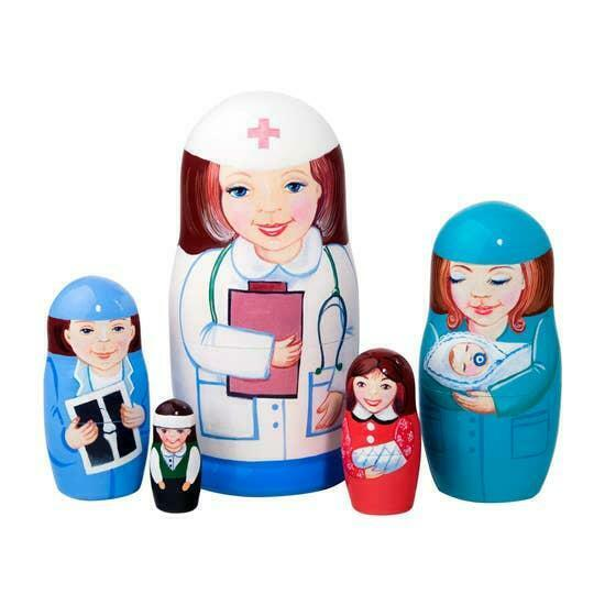 Nurse RN Gift Medical Hospital Russian Wooden Nesting Doll Set 5 pc Hand Painted