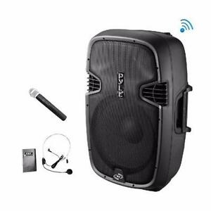 Pyle PPHP109WMU Wireless Portable Bluetooth PA Speaker 1000 Watt, Rechargeable Battery Handheld Microphone and headset