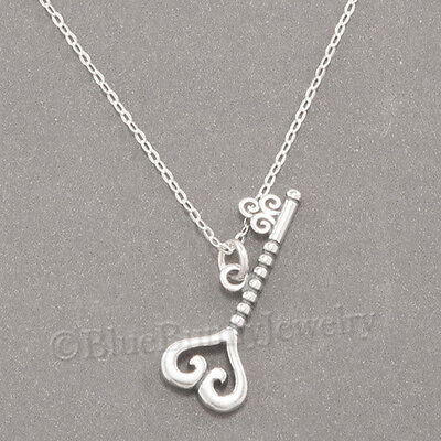 3D Heart Key Love Charm Pendant 925 Sterling Silver 18  Necklace