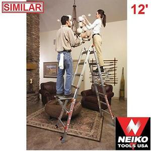 NEW* NEIKO 12.5' FOLDING LADDER ALUMINUM LADDERS 300 LBS CAPACITY - TOOLS STORAGE LADDERS HEIGHTS EXTENDED 101868099