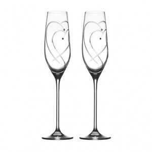 NEW Pair of Royal Doulton Crystal Champagne Flutes
