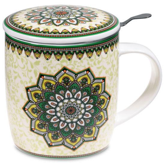 Teetasse Set Mandala GRÜN mit Deckel und Sieb Geschenkbox Bone China Porzellan