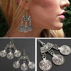 Vintage Tibetan Silver Round Coin Hook Drop Earrings For ...