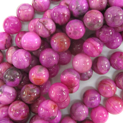 Crazy Agate Beads - Purple Pink Crazy Lace Agate Round Beads 15.5