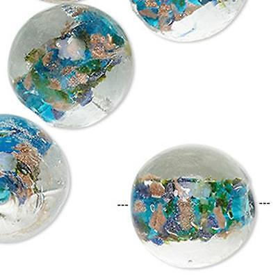 2482 Lampwork Glass Blue Copper Glitter Beads 20mm PK2 *UK EBAY SHOP*