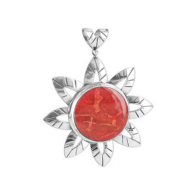 925 Sterling Silver Flower  Simulated Coral 53Mm Pendant  Clps001
