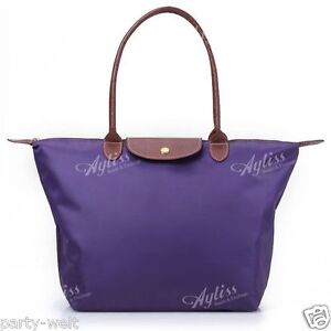 ... Leather Handle Tote Shopping Bag Nylon WaterProof Colorful Handbag