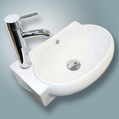 Bathroom White Bulkhead Mount Ceramic Corner Sink W/ Chrome Drain Faucet Combo Set