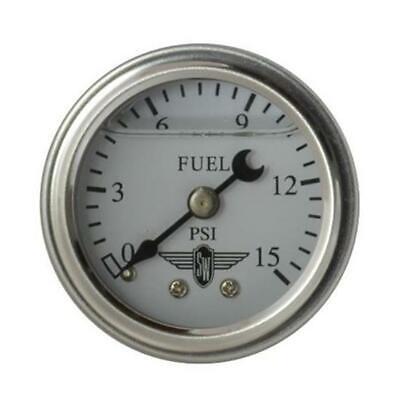 Stewart Warner 838135 Liquid Filled Pressure Gauge, 15 PSI, White