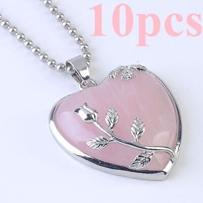 "Wholesales Rose Quartz Stone Flower Wrap Crystal Heart Pendant 20"" Necklace Gift"