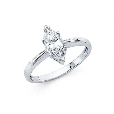 1 Ct Marquise Solitaire Engagement Wedding Promise Ring Solid 14K White Gold