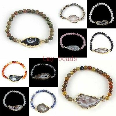 Bracelets With Beads (Natural Agate Slice Druzy Geode Quartz Bracelets With Stone Round Beads)