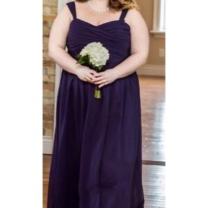 Long dark purple chiffon dress