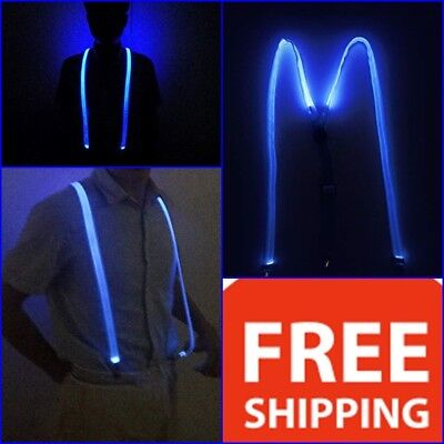 LED Light Up Glowing Suspenders Men Women Suit Costume Blue Color New year - Light Up Costumes For Men